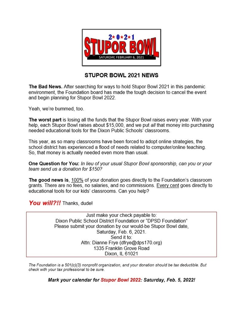 Stupor Bowl Sponsor Announcement