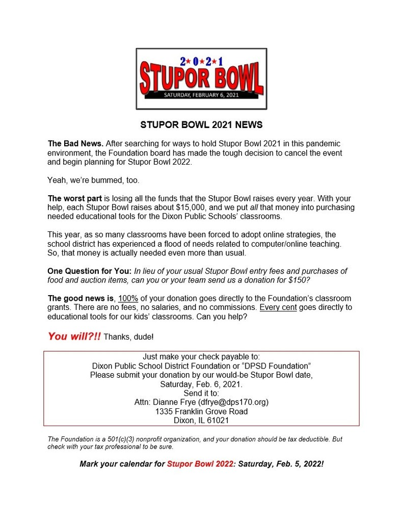 Stupor Bowl Team Announcement