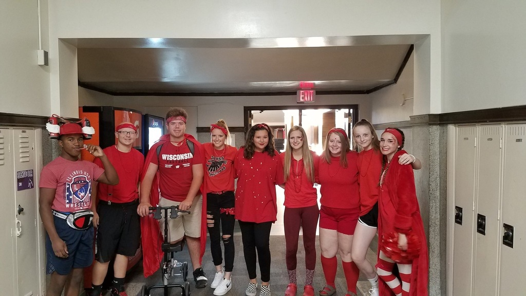 Photo of high school students in red clothes