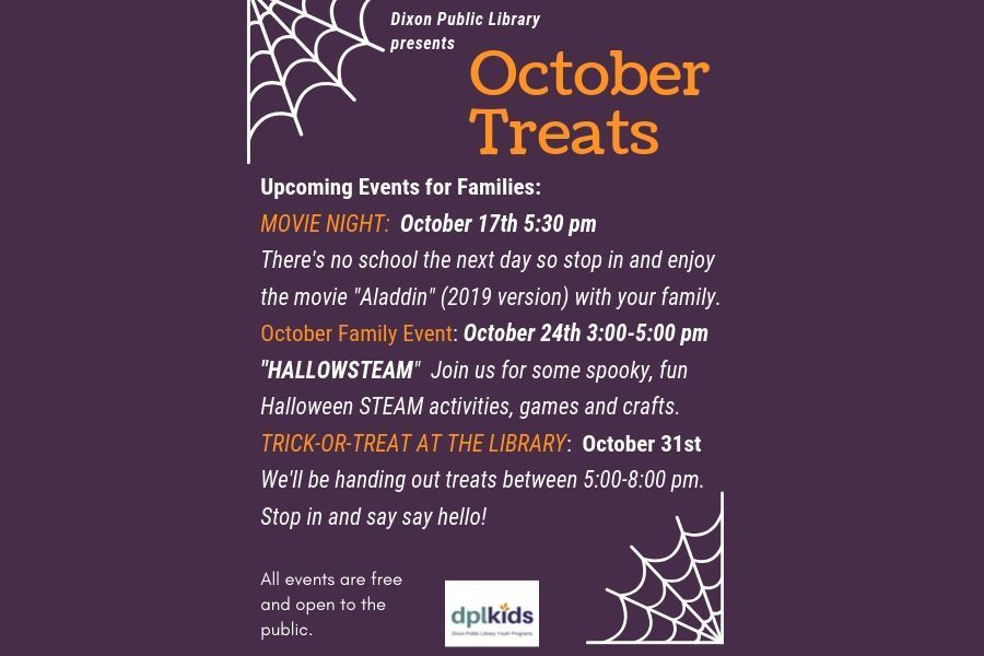 October Treats flyer from the Dixon Public Library