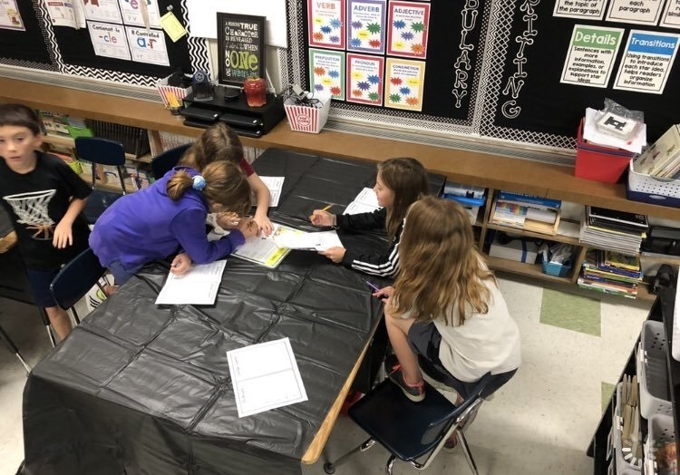 Photo of 4th grade students in class working on a project