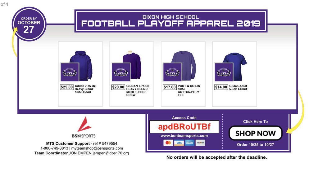 Dukes Football Playoff Gear Order Graphic