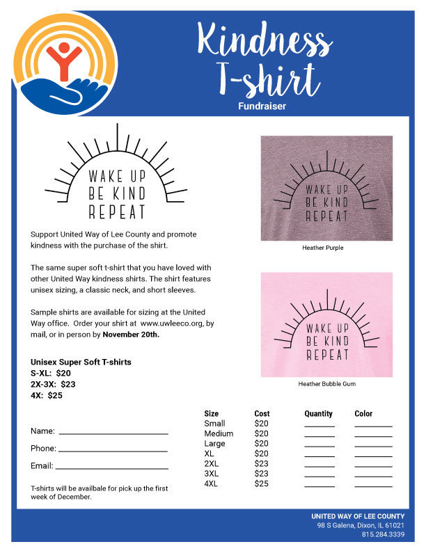 United Way t-shirt flyer