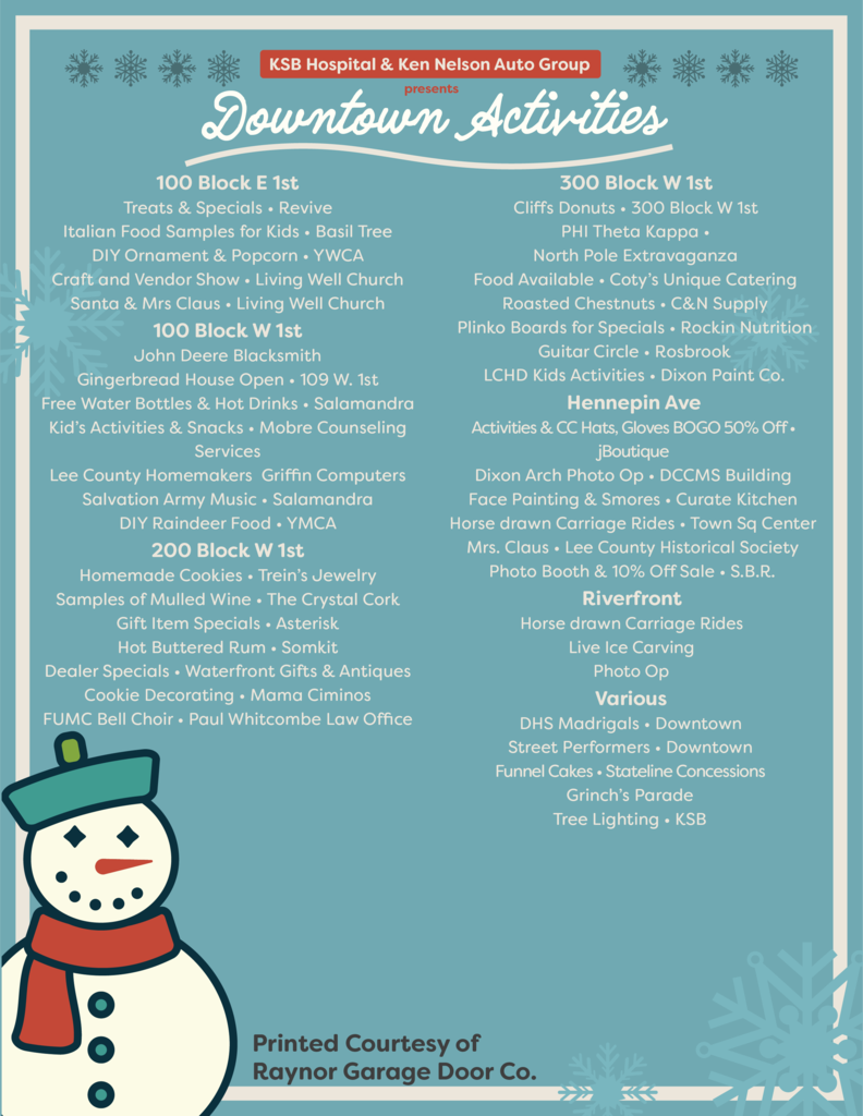 2019 Christmas Walk flyer page 2