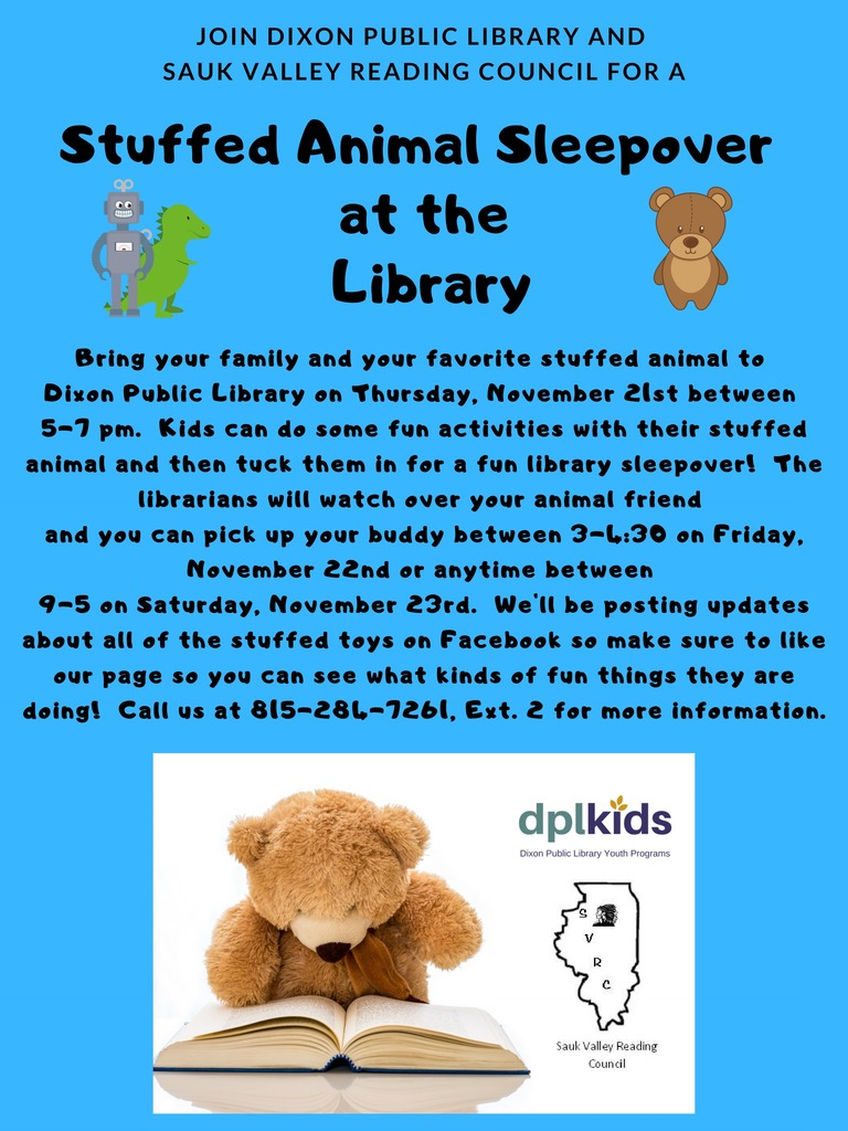 Stuffed Animal Sleepover flyer from the Public Library