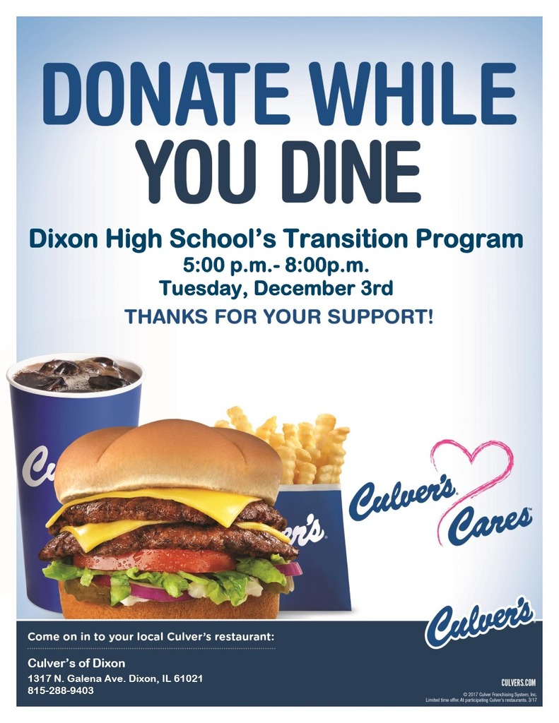 Transition's Culver's Flyer for 12-3-19