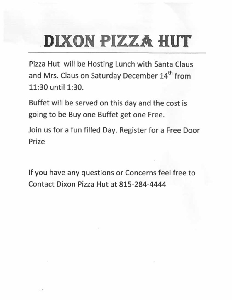 Pizza Hut Santa Flyer