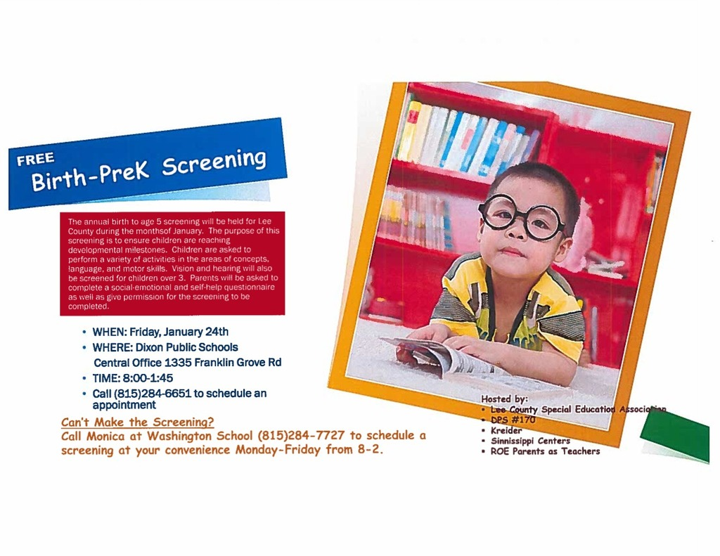 Pre-K screening flyer for January 24th