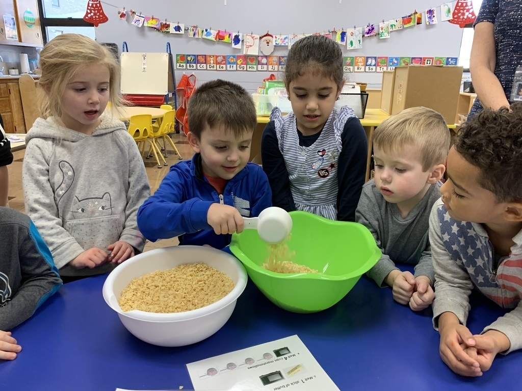 students making rice krispy treats