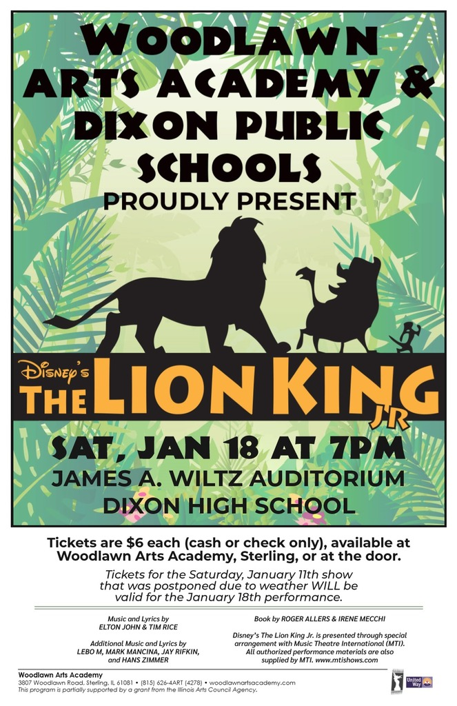 Lion King flyer for January 18th, 2020