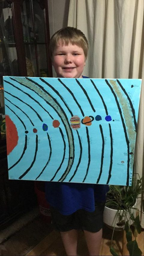 Chase and his painting of the solar system