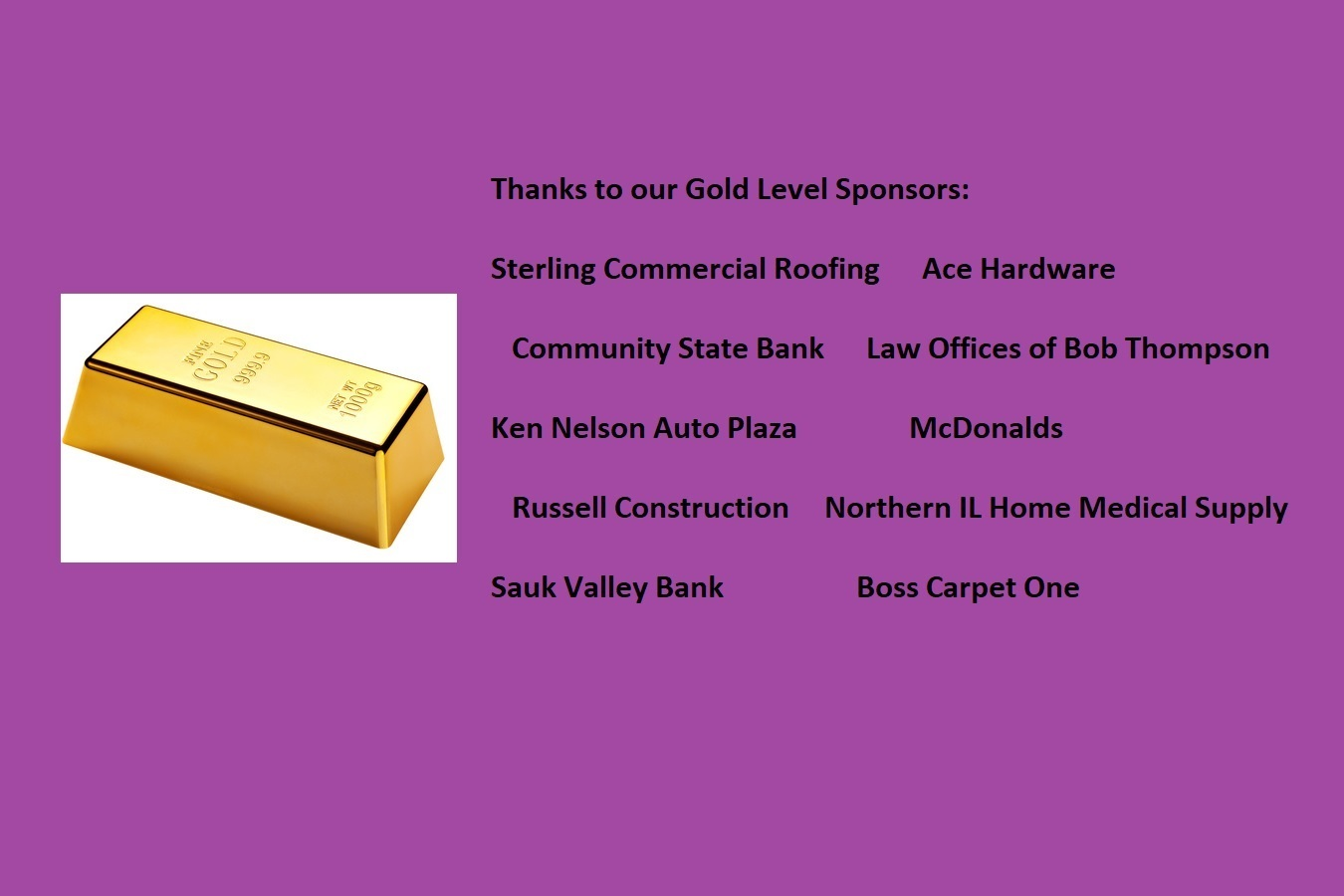 Thanks to our Gold Level Sponsors